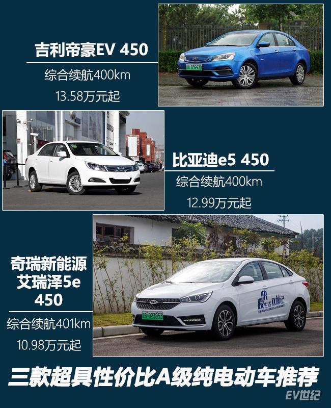 综合续航400km起步 三款超具性价比A级纯电动汽车推荐